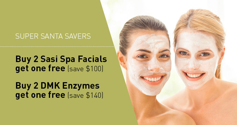 Buy 2 Sasi Spa Facials get one free (save $100) Buy 2 DMK Enzymes get one free (save $140)