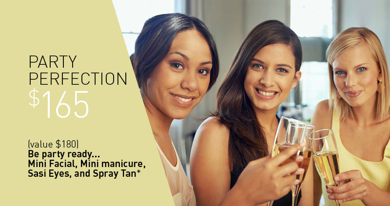 "PARTY PERFECTION $165 (value $180) Be party ready...Mini Facial, Mini manicure, Sasi Eyes, and Spray Tan* *must be all at the same appointment. The team at Sasi are all make-up artists as well, so for the final touch, book a salon makeup for the day of your event, and perhaps some Party Lashes to be ""the star on the top of the tree""!"