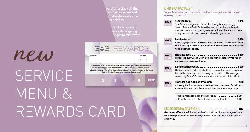 Sasi - new service menu and rewards card