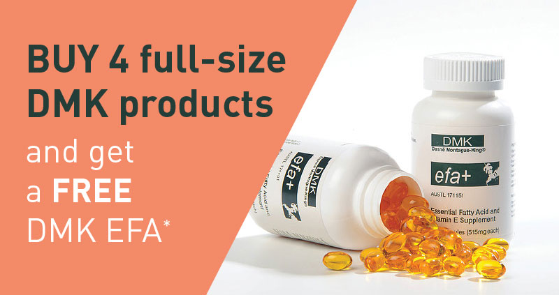 Buy 4 full price DMK products, and get a free DMK EFA*